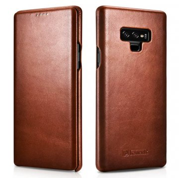 ICARER Samsung Galaxy Note 9 Curved Edge Vintage Folio Case Brown