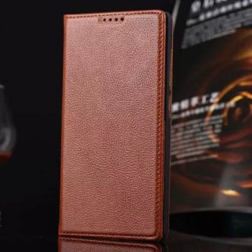 Litchi Pattern Genuine Leather Casual Stand Case For Xiaomi Redmi Note