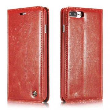 CaseMe 003 iPhone 7 Plus Business Style Magnetic Flip Wallet Case Red