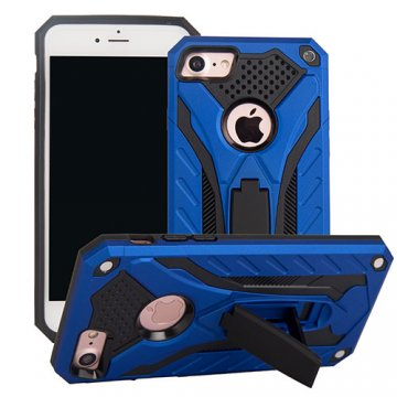 Apple iPhone 7 Knight Armor Hybrid Shockproof Stand Case Blue