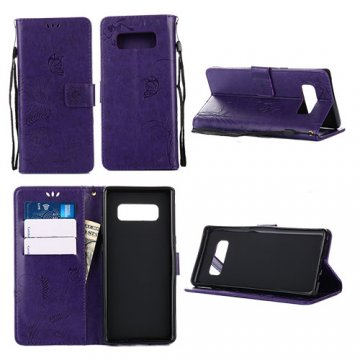Samsung Galaxy Note 8 Wallet Embossed Ant Flower Design Case Purple