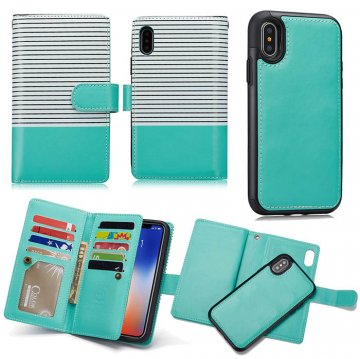 BRG iPhone X Detachable Wallet Magnetic Case Stripe White + Green