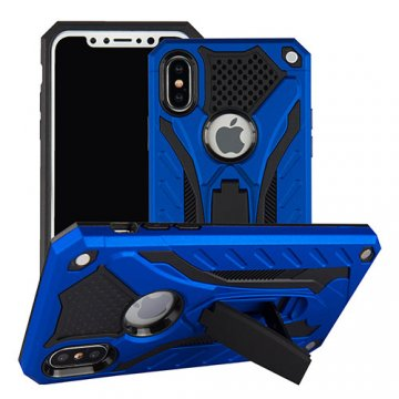 Apple iPhone X Armor Hybrid Shockproof Stand Case Blue