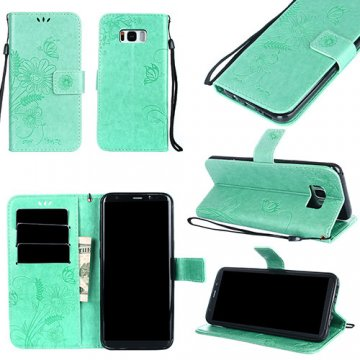 Samsung Galaxy S8 Plus Embossed Ant Butterfly Design Wallet Case With Wristlet Cyan