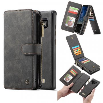 CaseMe Samsung Galaxy Note 9 Zipper Wallet Magnetic Case Black