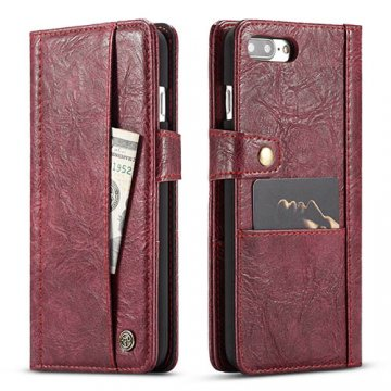 CaseMe iPhone 8 Plus Retro Slot Cards Wallet Leather Case Red