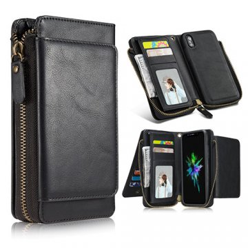 iPhone X Wallet Detachable Magnetic Case With Wrist Strap Black