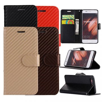 Carbon Fiber Huawei P10 Wallet Stand Leather Case