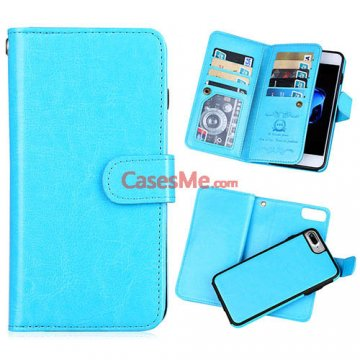 BRG iPhone 8 Plus Wallet 9 Card Slots Detachable Magnetic Case Blue