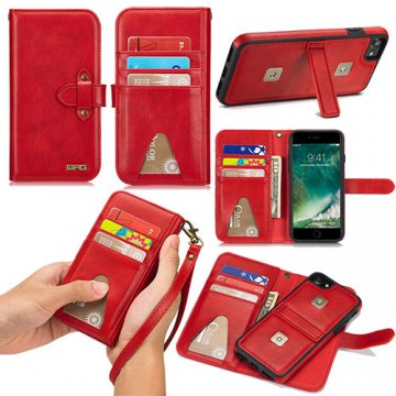 BRG iPhone 8 Wallet Detachable 2 in 1 Case with Wrist Strap Red