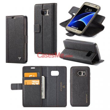 WHATIF Samsung Galaxy S7 Wallet Detachable DIY Case Black