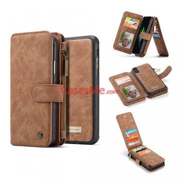 CaseMe iPhone XS Zipper Wallet Detachable Flip Case Brown