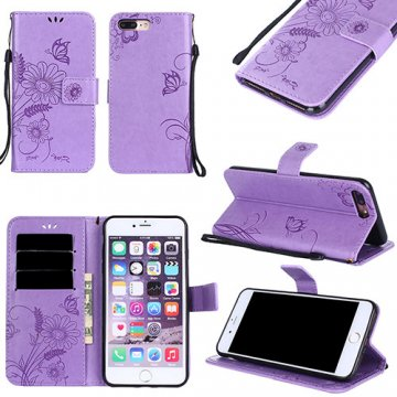 iPhone 7 Plus Wallet Embossed Ant Flower Stand Case Lavender