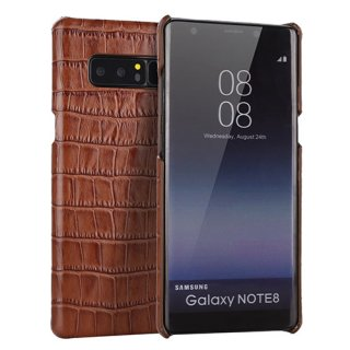 Samsung Galaxy Note 8 Genuine Leather Embossed Crocodile Back Cover Brown