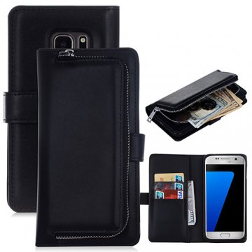 Samsung Galaxy S7 Edge Detachable Magnetic Zipper Pocket Case Black