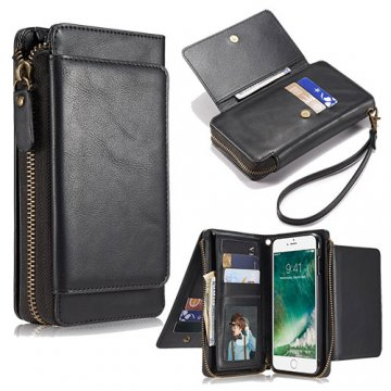 iPhone 7 Plus Wallet Detachable Magnetic Case With Wrist Strap Black