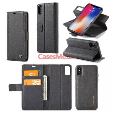WHATIF iPhone X Wallet Detachable 2 in 1 Stand Case Black