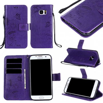 Samsung Galaxy S7 Edge Wallet Embossed Ant Flower Stand Case Purple