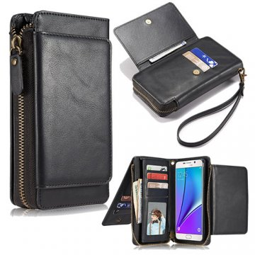 Samsung Galaxy Note 5 Wallet Detachable Magnetic Case With Wrist Strap Black