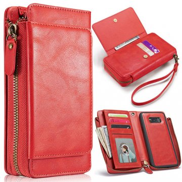 Samsung Galaxy S8 Plus Wallet Detachable Magnetic Case With Wrist Strap Red