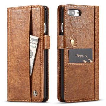 CaseMe iPhone 7 Plus Retro Slot Cards Wallet Leather Case Brown