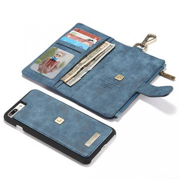 CaseMe 009 iPhone 7 Plus Zipper Wallet Metal Buckle Detachable Folio Case Blue