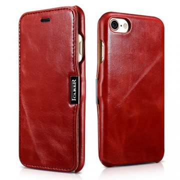 ICARER iPhone 8 Vintage Genuine Leather Case Red
