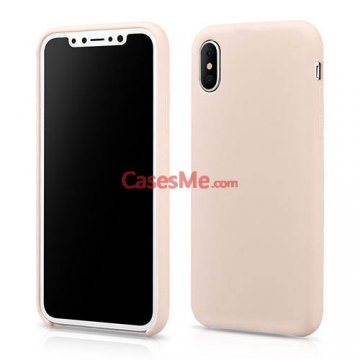 XOOMZ iPhone X Liquid Silicone Soft Back Cover Case Rose Gold