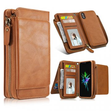 iPhone X Wallet Detachable Magnetic Case With Wrist Strap Brown