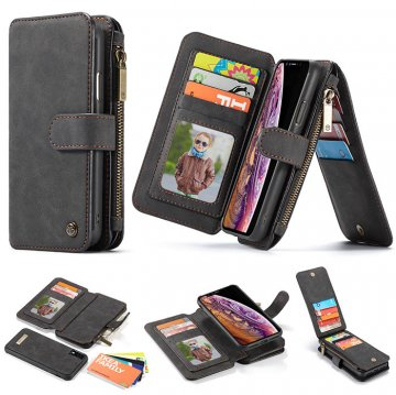 CaseMe iPhone XR Zipper Wallet Magnetic 2 in 1 Flip Case Black