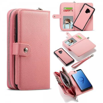 BRG Samsung Galaxy S9 Plus Litchi Pattern Zipper Wallet Case Pink