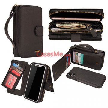 BRG iPhone X Zipper Wallet Detachable Magnetic Case Black