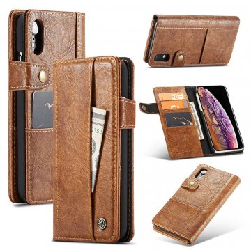 CaseMe iPhone XR Retro Card Slots Wallet Leather Case Brown