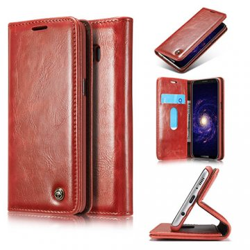 CaseMe Samsung Galaxy S8 Business Style Magnetic Flip Wallet Case Red