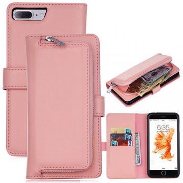 iPhone 7 Plus Detachable Magnetic Zipper Pocket Case Pink