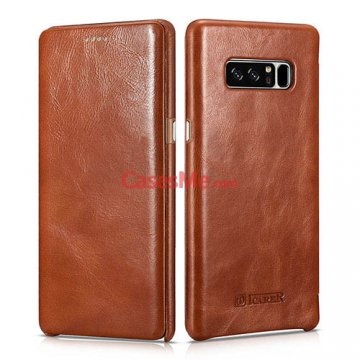 ICARER Samsung Galaxy Note 8 Curved Edge Vintage Case Brown