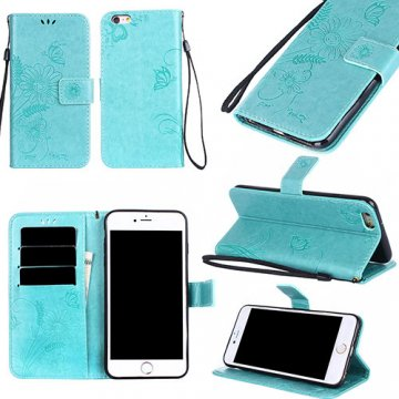 iPhone 6/6S Wallet Embossed Ant Flower Design Stand Case Cyan