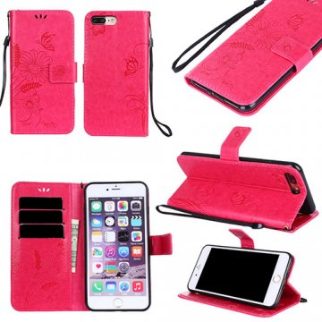 iPhone 7 Plus Wallet Embossed Ant Flower Design Stand Case Red