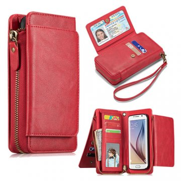Samsung Galaxy S6 Edge Wallet Detachable Magnetic Case Red