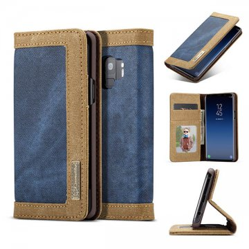 CaseMe Samsung Galaxy S9 Canvas Wallet Leather Case Blue