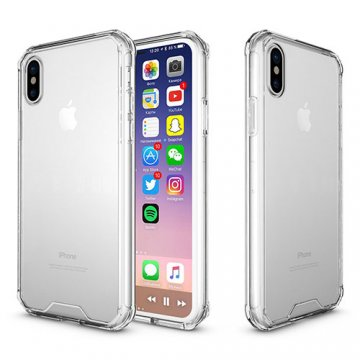 iPhone X Transparent Acrylic Shockproof TPU Protective Case Transparent