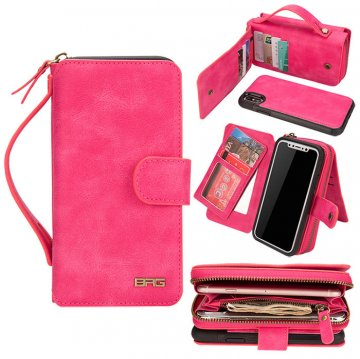 BRG iPhone XS Zipper Wallet Magnetic Detachable 2 in 1 Case Rose