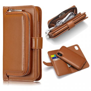iPhone X Zipper Pocket Detachable Magnetic Case Brown