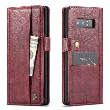 CaseMe Samsung Galaxy Note 8 Retro Wallet Leather Case Red