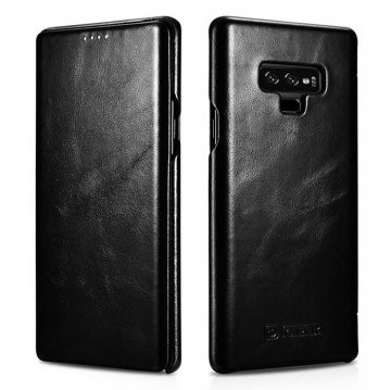 ICARER Samsung Galaxy Note 9 Curved Edge Vintage Folio Case Black