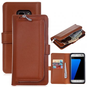 Samsung Galaxy S7 Detachable Magnetic Zipper Pocket Case Brown