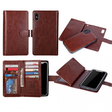 BRG iPhone X Wallet 9 Slot Cards Detachable Magnetic Case Brown