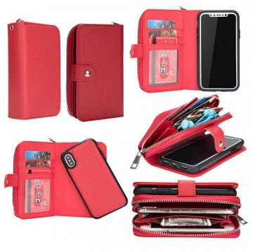 BRG iPhone Xs Wallet Magnetic Detachable Litchi Texture Case Red