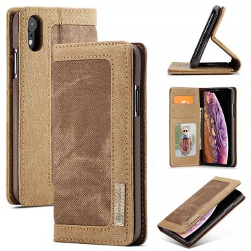 CaseMe iPhone XR Canvas Magnetic Flip Wallet Leather Case Brown
