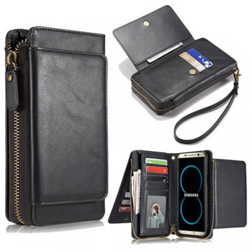 Samsung Galaxy S8 Wallet Detachable Magnetic Case With Wrist Strap Black